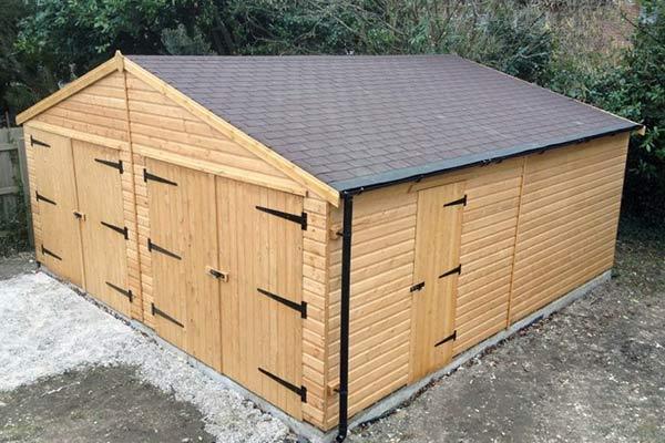 10 x 8 brown metal shed timber garages hampshire uk for Building garage plans free uk